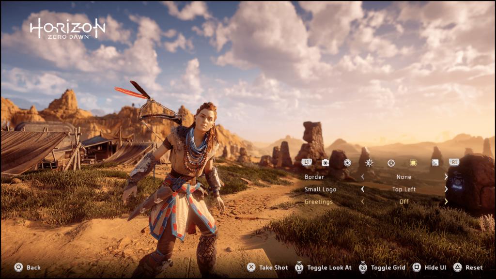 Horizon Zero Dawn's screenshot where Aloy is looking at the screen