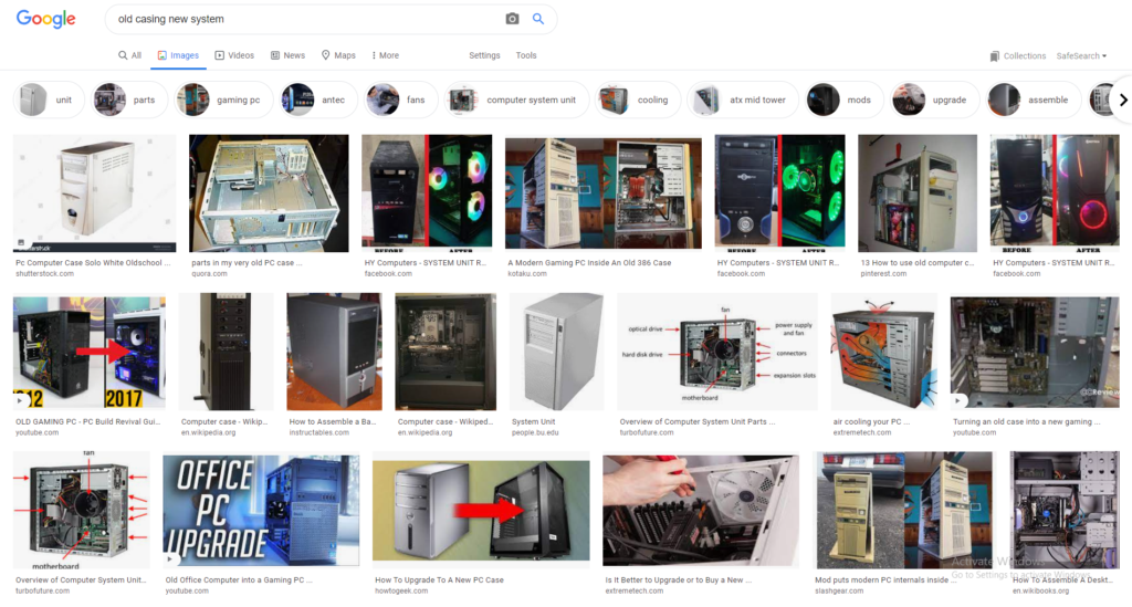 A screenshot of a google image search showing old systems converted into new ones